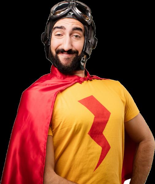 Superheld mit rotem Blitz auf der Brust